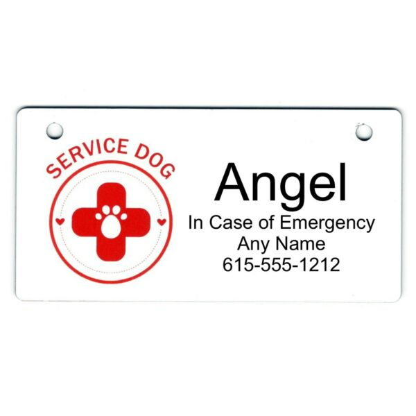 Service Dog Personalized 5quot; x 2.5quot; Dog Crate Tag FREE SHIPPING $14.00
