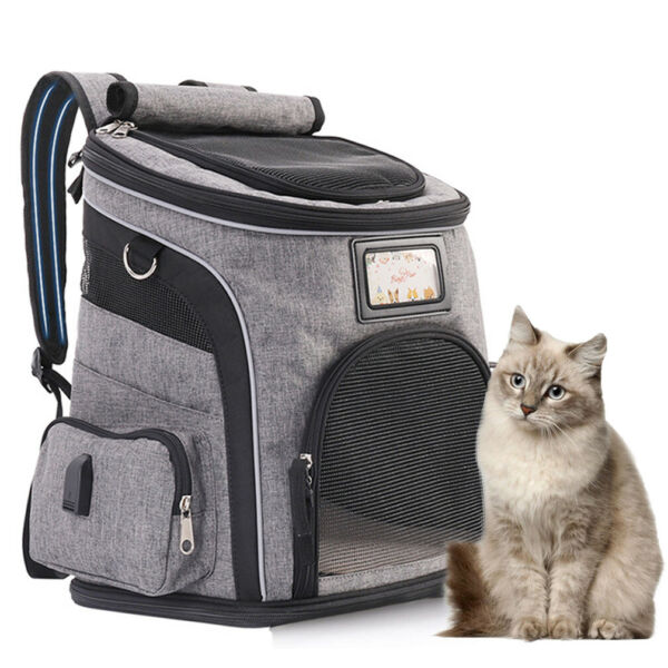 Pet Portable Carrier Backpack Travel Dog Cat Mesh Bag w Removable Waterproof Mat $37.96