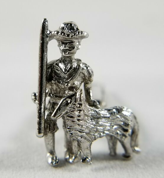 Vintage SARAH COVENTRY silver tone shepherd boy with collie dog unique cufflinks $18.00