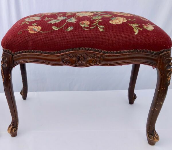 French Rectangular Bench Covered with Tapestry Fabric Early 1900s