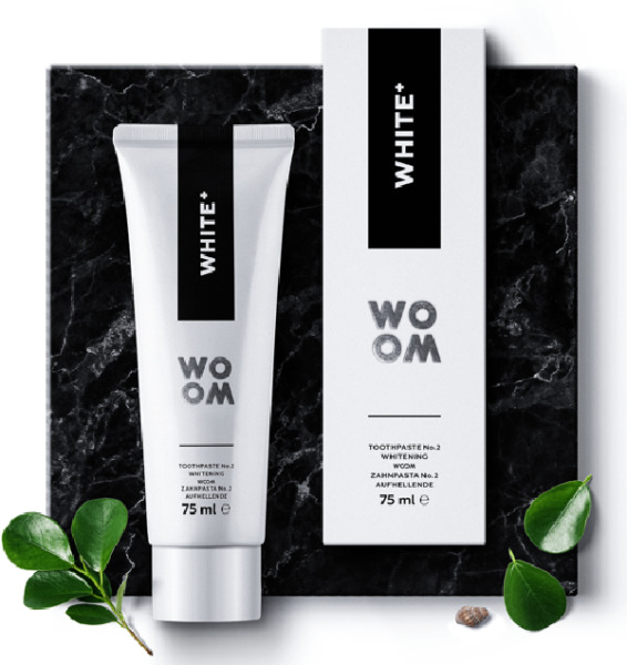 WHITE PLUS New Age Oral Care by WOOM Latvia produced in Spain FLUORIDE FORMULA