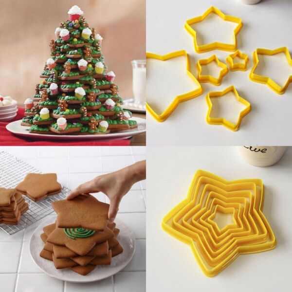 6pcs Star Shaped Christmas Tree Biscuit Cookie Cutter Cake DIY Baking Mould