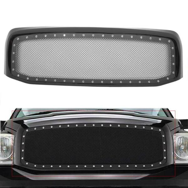Front Hood Steel Mesh Shell Grille Grill For 2006-2008 Dodge Ram 1500 2500 3500
