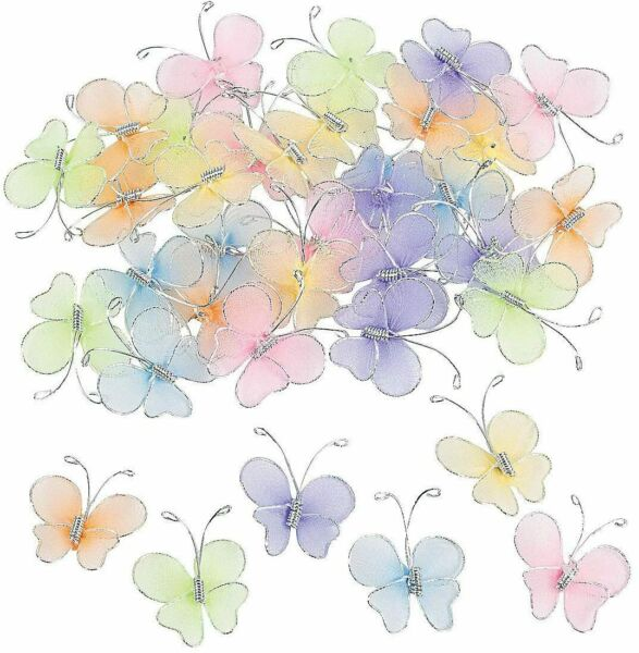 Crafts for Kids and Fun Home Activities, 36pc Nylon Butterflies, Easter Supplies