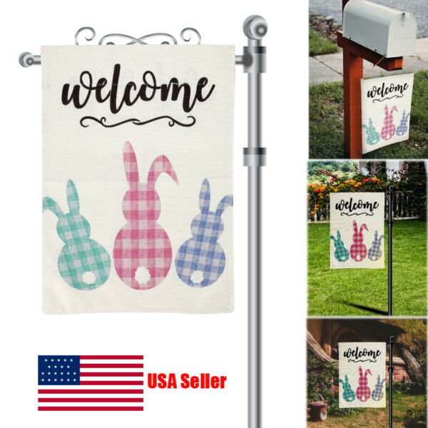 Happy Easter Garden Flag 12.5quot;x18quot; Sping Burlap Yard Outdoor Decor 2 Sided layer