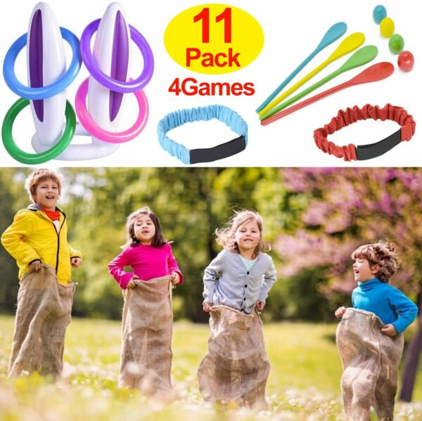 TURNMEON 11 Pack Easter Outdoor Party Games for Family4 Potato Sack Race Bags