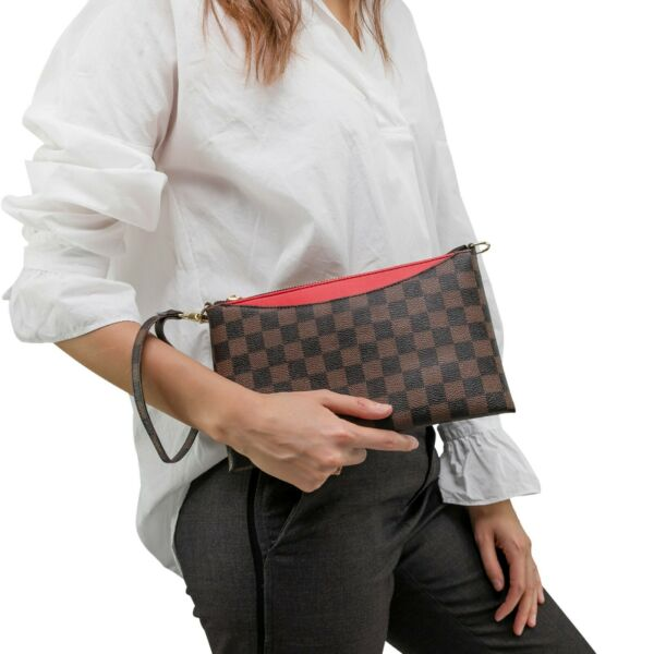 Luxury Checkered Crossbody Bag for Women Wristlet Clutch Leather Shoulder Strap