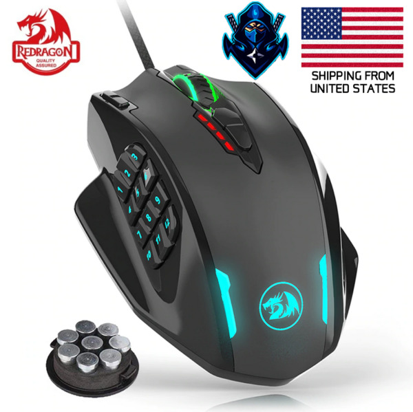 REDRAGON Gaming Wired Mouse Ergonomic 12400 DPI 19 Programmable Buttons RGB LEDs