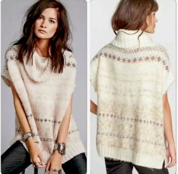 Free People Ivory Snow Bunny Fair Isle Cable Knit Sweater Size M Cowl Neck