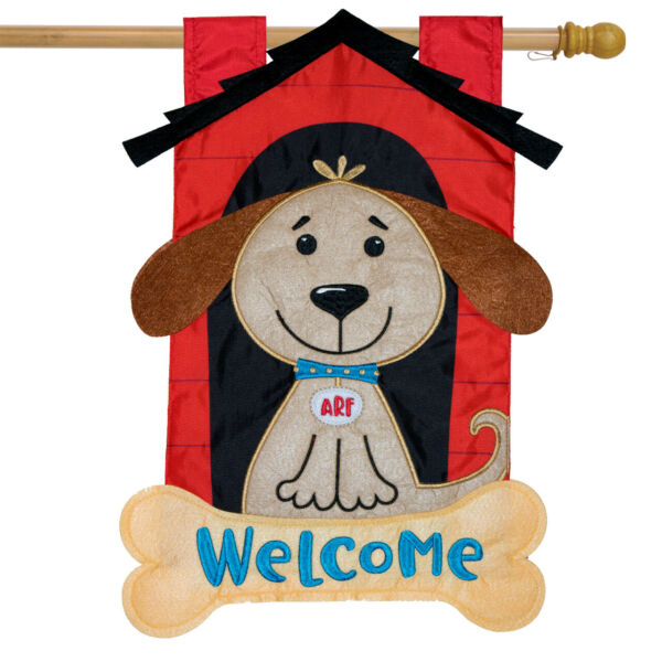 Welcome Doghouse Applique House Flag Everyday 28