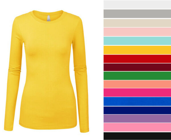 Women#x27;s Basic Long Sleeve Top Slim Fit Stretch Crew Neck T shirt Plain Cotton