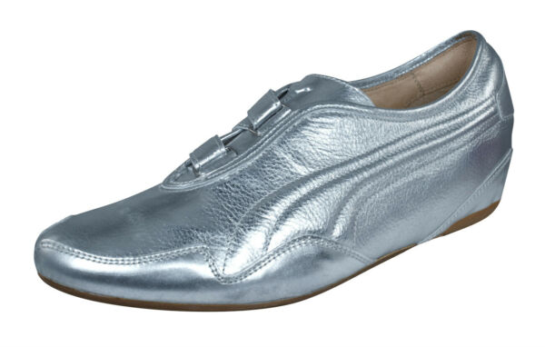 Puma Mostro Re Luxe Womens Leather Sneakers Casual Metallic Shiny Shoes Silver