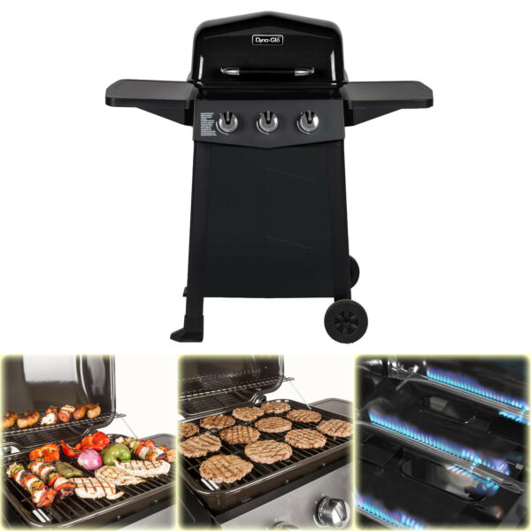 BBQ Grill Propane Gas 3 Burner Open Cart Dyna Glo Black Porcelain Coated Steel