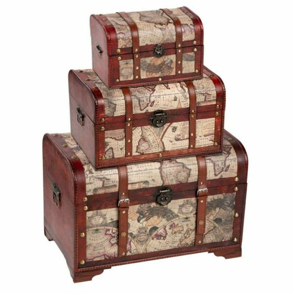 Juvale Wooden Chest Trunk 3 Piece Storage Trunk and Chests Map Pattern $72.99