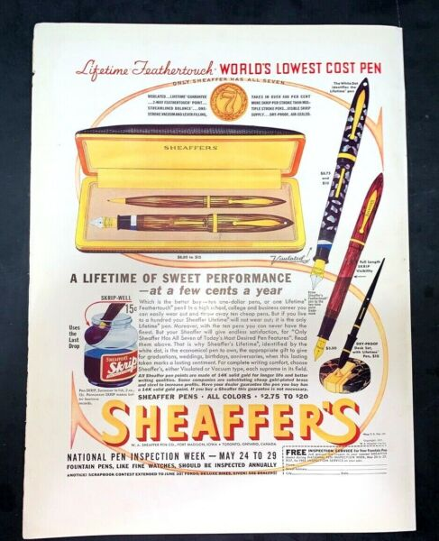 Life Magazine Ad SHEAFFER#x27;S Fountain Pens 1937 A3 Cover May 24 1937 Spring Lamb