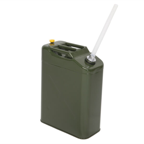 Army Green 20L 5 Gallon Gas Jerry Can Fuel Gasoline Steel Tank w Spout Portable