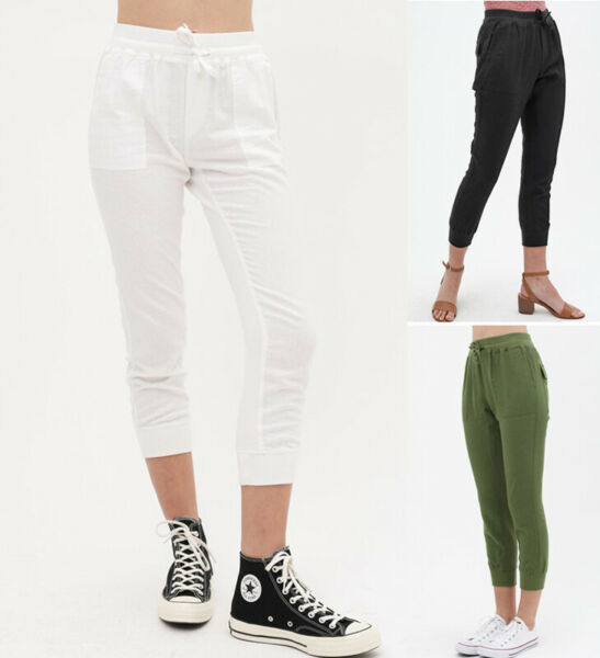 Women#x27;s Casual Linen Pants High Waist Drawstring Capri Cropped Slim Leg Jogger $17.99