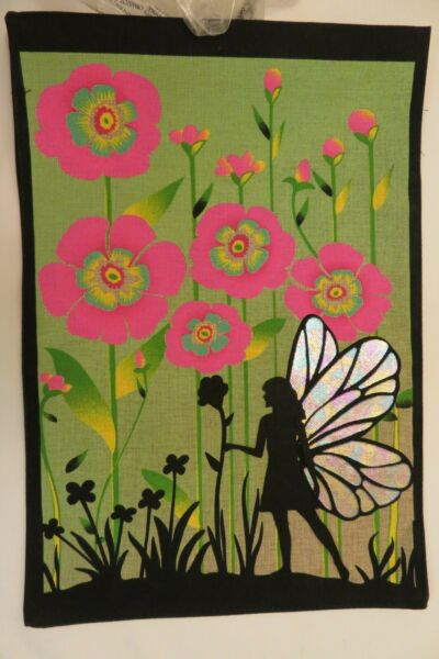 Fairy walks among Pink Flowers Burlap textured decorative Garden flag