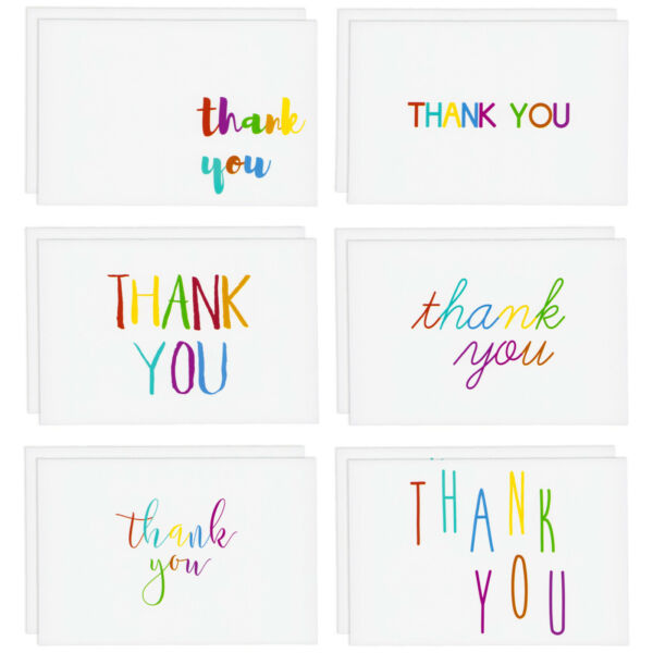 48 Pcs Thank You Cards Bulk Set Rainbow Font Thank You Notes with Envelopes
