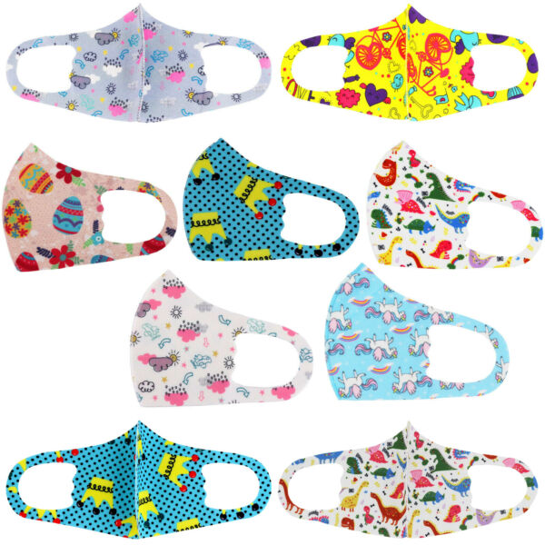 Lot of 12 Reusable Washable Cloth Face Cover Stretch Handmade Mask Kids Toddler