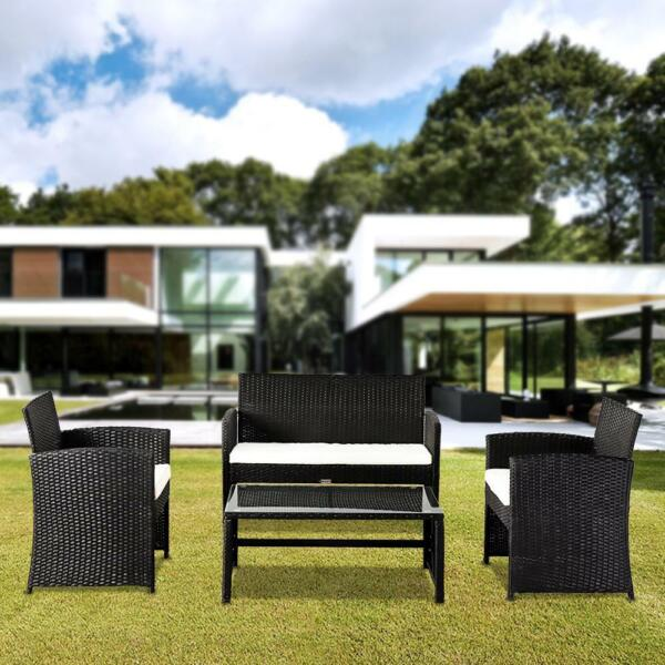 New 4PC Outdoor Patio PE Rattan Wicker Table Set Sofa Furniture w Cushion Black $189.95