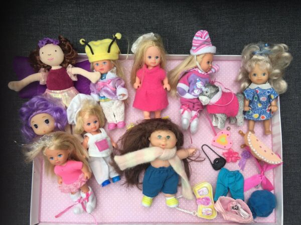 Mini Dolls 12см Long With Clothes Dog Pumkin Patch for Castle Lots Of 11 Bundle GBP 25.00