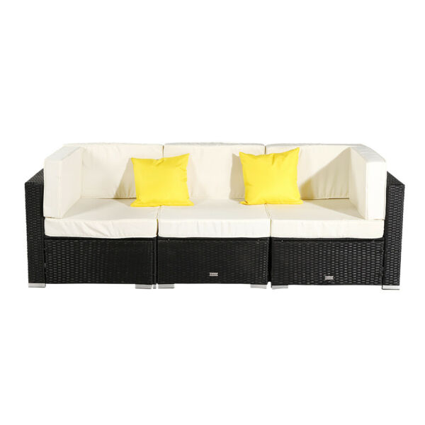 3PCS Patio Furniture Couch Garden Wicker Rattan Cushioned Sofa Sectional Black $275.98