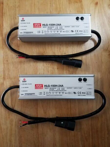 (2)Mean Well HLG-150H-24A LED Driver Power Supply With Preinstalled Power Cord!