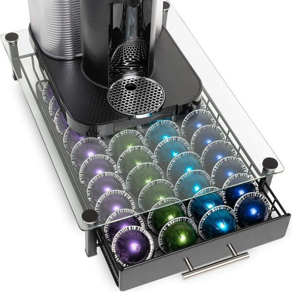 Nook and Niche brand Premium Glass Stand with Pod Drawer For Nespresso and