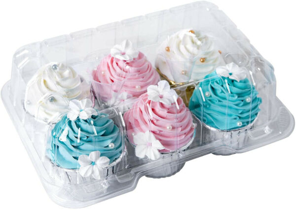 Clear Cupcake Boxes 6 Cavity HolderONE MORE Large 6 Compartment Muffin Plastic