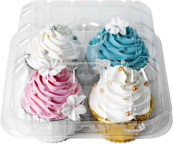 Clear Cupcake Boxes 4 Cavity HolderONE MORE Large 4 Compartment Muffin Plastic