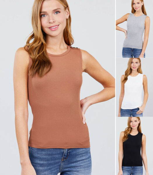Women#x27;s Sleeveless Crew Neck Solid Tank Tops Button Shoulder Basic Casual Knit