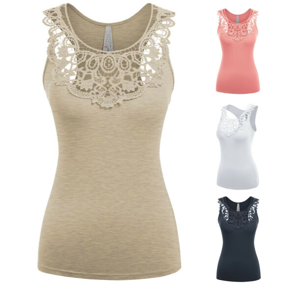 Women#x27;s Boho Crochet Scoop Neck Tank Top Sleeveless Soft Cotton Stretch Knit