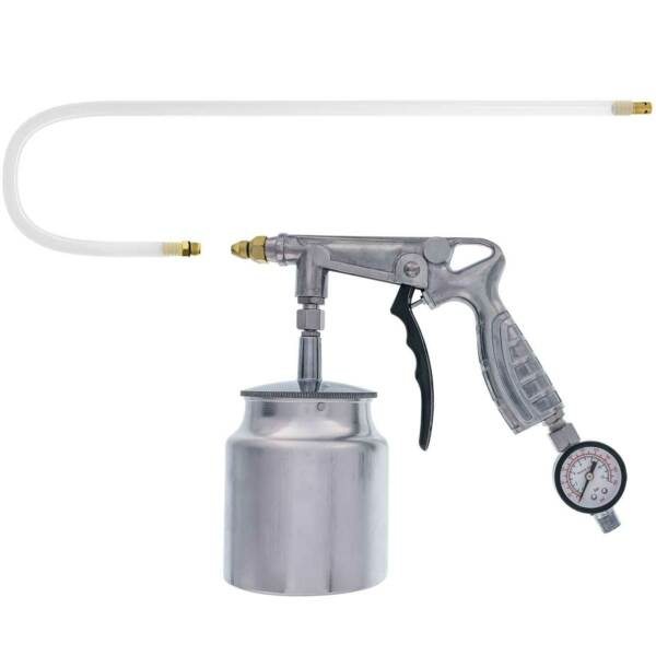 Pneumatic Air Undercoating Gun with Suction Feed Cup Gauge & Extension Hose