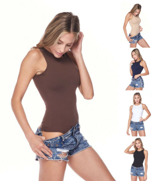 Women#x27;s Basic Crew Neck Sleeveless Solid Color Stretchy Seamless Bodysuit Top