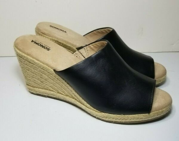 Sonoma Black Faux Leather And Jute Wedge Slip On Sandals 73277 Womens Size 8.5 M
