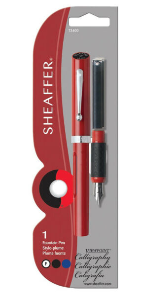 Sheaffer Calligraphy Pen Viewpoint Red with 2 ink cartridges Fine Pt