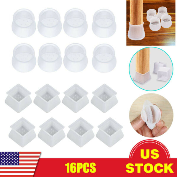 16x Chair Leg Cap Floor Protection Furniture Table Feet Silicone Anti-Slip Cover