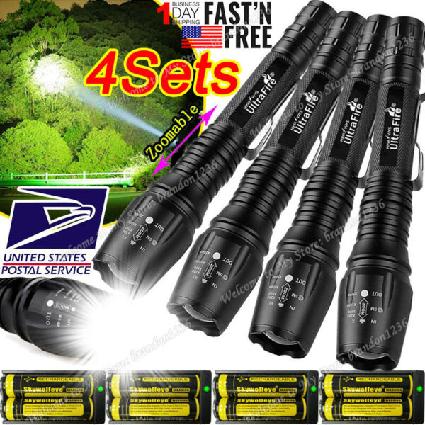 Zoomable Ultrafire Tactical 350000LM 5Modes Focus T6 LED Flashlight 186*50 Torch