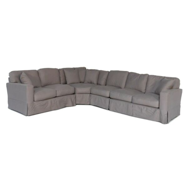 4-Piece Slip Cover Sofa L-Sectional Plush Fabric