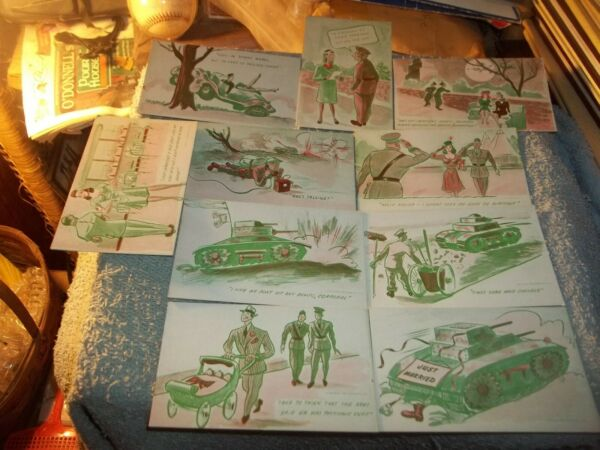 10 MUTOSCOPE POST CARDS 1940's ARCADE MILITARY HUMOR LOT #2