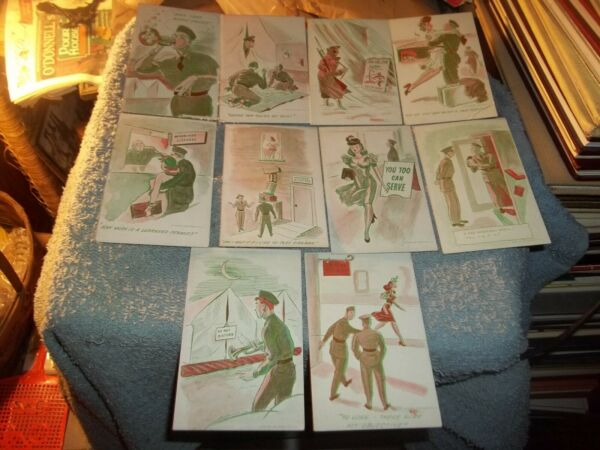 10 MUTOSCOPE POST CARDS 1940's ARCADE MILITARY HUMOR LOT #1