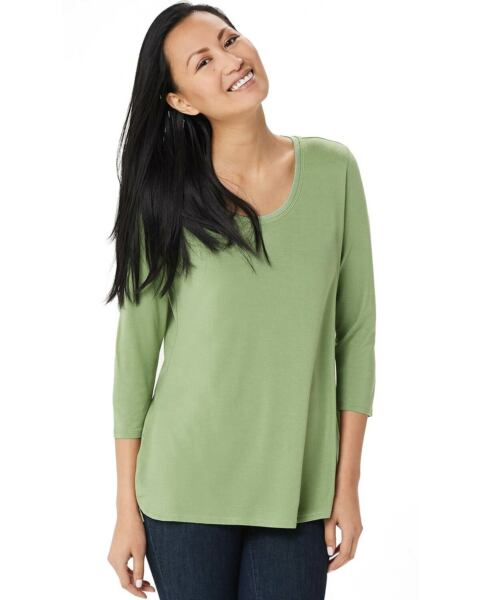 H by Halston Womens Essentials 3 4 Sleeve Shirttail Top Large Aloe Vera A352994 $22.00