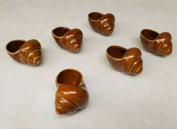 Vintage Snail Shaped Escargot Holders Ceramic Dishes Marked Ichsy Set of 6 $32.99