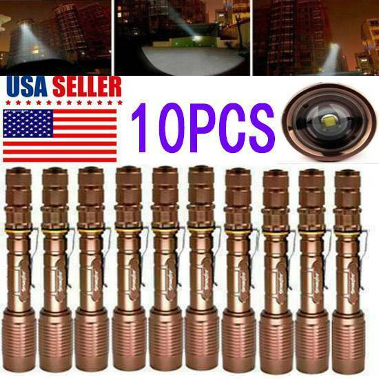 10PC Tactical Police 350000LM 5-Modes T6 LED Hiking Flashlight Focus Zoom Torch