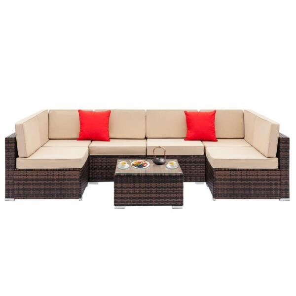 1 7PCS Patio Furniture Couch Wicker Rattan w Cushions Sofa Sectional Set $169.95