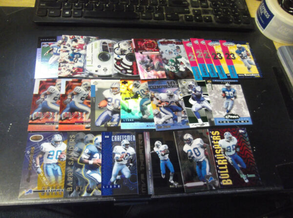 LOT OF (24) BARRY SANDERS INSERT CARDS DETROIT LIONS HALL OF FAMER WMACH #