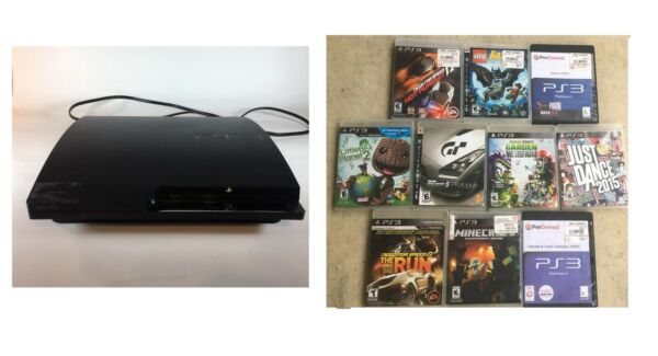 USED Sony PS3 play station Model CECH-2501A ( without Controller) with 10 games