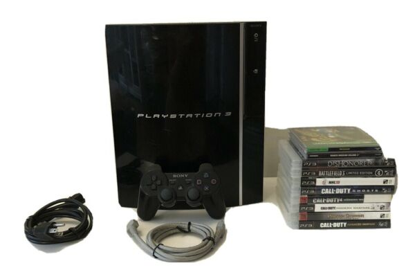 Sony PlayStation 3 80GB Piano Black Console PS3 CECH1000 Tested Free Shipping