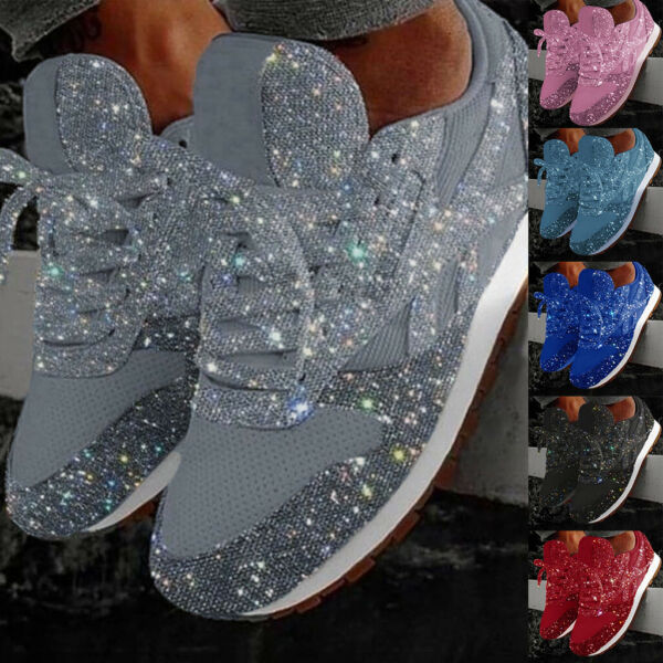 Women Sequins Sneakers Casual Breathable Bling Glitter Lace Up Gym Running Shoes